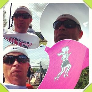 Før og etter løpet, som ble løpt i rosa løpeskjørt:)